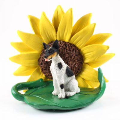 Rat Terrier Figurine Sitting on a Green Leaf in Front of a Yellow Sunflower