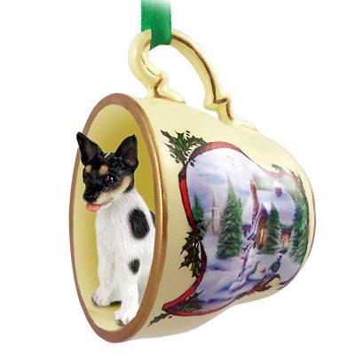 Rat Terrier Dog Christmas Holiday Teacup Ornament Figurine 1