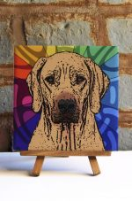 Rhodesian Ridgeback Colorful Portrait Original Artwork on Ceramic Tile 4x4 Inches