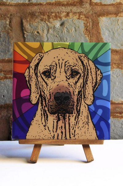 Rhodesian Ridgeback Colorful Portrait Original Artwork on Ceramic Tile 4x4 Inches