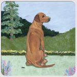 Rhodesian Ridgeback Yard Scene Coasters Set of 4