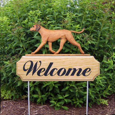 Rhodesian Ridgeback Outdoor Welcome Garden Sign - Brown in Color