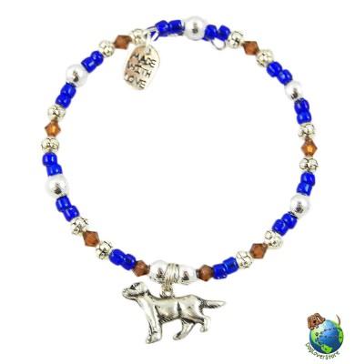 Rottweiler Beaded Charm Bracelet Silver Handmade