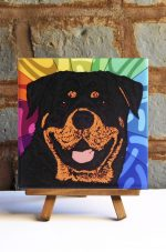 Rottweiler Colorful Portrait Original Artwork on Ceramic Tile 4x4 Inches