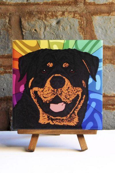 Rottweiler Colorful Portrait Original Artwork on Ceramic Tile 4x4 Inches