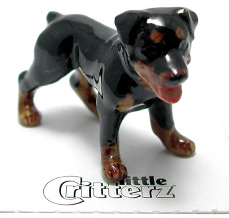 Rottweiler Hand Painted Porcelain Miniature Figurine