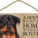 Rottweiler Wood Dog Sign Wall Plaque 5 x 10 + Bonus Coaster 1