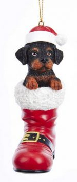 Rottweiler Santa Boot Ornament