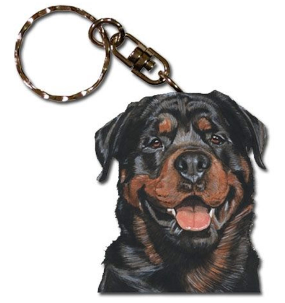 Rottweiler Wooden Key Chain