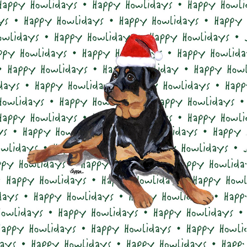 Rottweiler Dog Coasters Christmas Themed