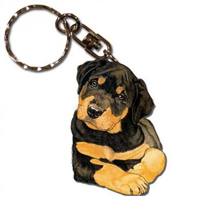 Rottweiler Wooden Dog Breed Keychain Key Ring 1