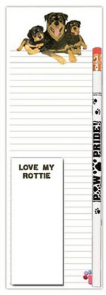 Rottweiler Dog Notepads To Do List Pad Pencil Gift Set