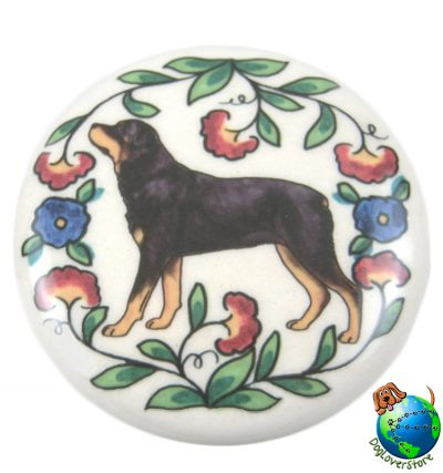 Rottweiler Dog Wine Bottle Stopper Hand Painted 1