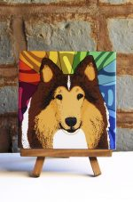 Collie Rough Coat Colorful Portrait Original Artwork on Ceramic Tile 4x4 Inches