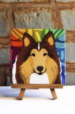 Collie Rough Coat Colorful Portrait Original Artwork on Ceramic Tile 4x4 Inches