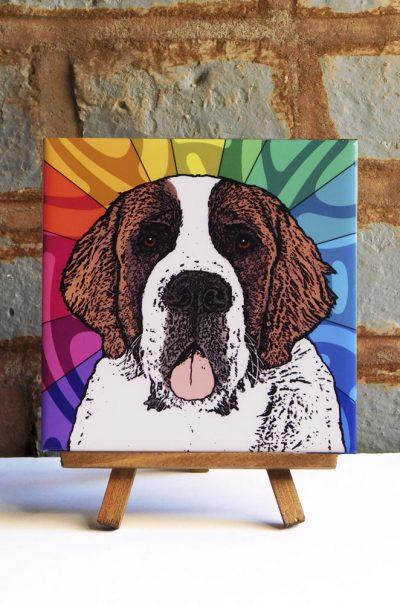 Saint Bernard Colorful Portrait Original Artwork on Ceramic Tile 4x4 Inches
