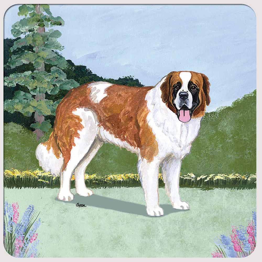 Saint Bernard Yard Scene Coasters Set of 4