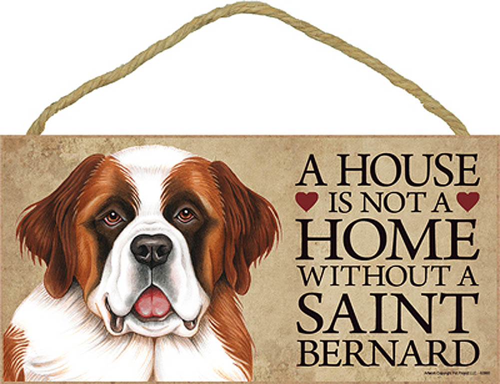 Saint Bernard Wood Dog Sign Wall Plaque 5 x 10 + Bonus Coaster