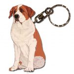 Saint Bernard Wooden Dog Breed Keychain Key Ring