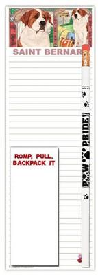 Saint Bernard Dog Notepads To Do List Pad Pencil Gift Set