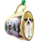 Saint Bernard Dog Christmas Holiday Teacup Ornament Figurine Rough