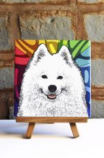Samoyed Colorful Portrait Original Artwork on Ceramic Tile 4x4 Inches