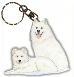 Samoyed Wooden Dog Breed Keychain Key Ring