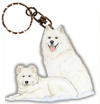 Samoyed Wooden Dog Breed Keychain Key Ring