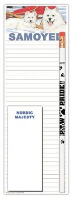 Samoyed Dog Notepads To Do List Pad Pencil Gift Set