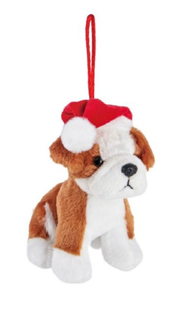 Bulldog Santa Hat Plush ornament