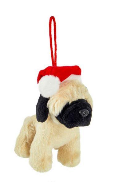 Pug Santa Hat Plush Ornament