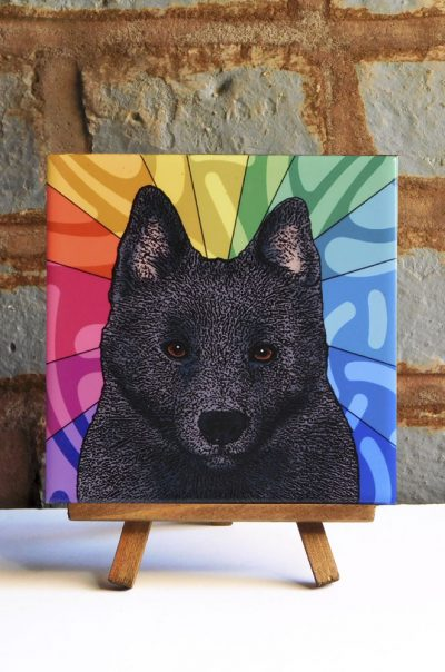 Schipperke Colorful Portrait Original Artwork on Ceramic Tile 4x4 Inches