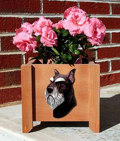 Schnauzer Planter Flower Pot Standard Black Silver 1