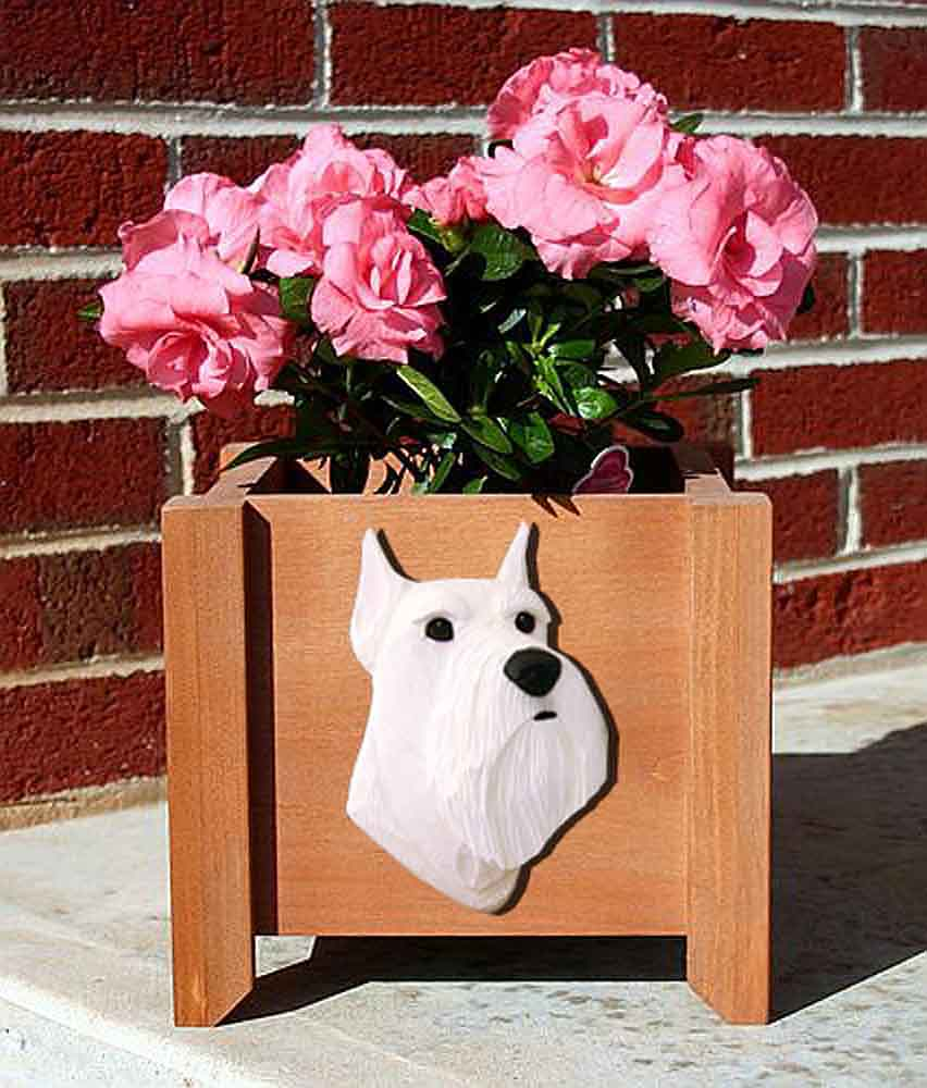 Schnauzer Planter Flower Pot White