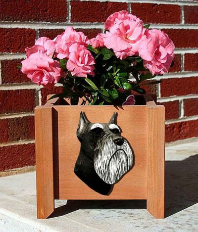 Schnauzer Planter Flower Pot Black Silver