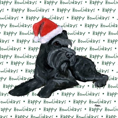 Schnazer Dog Coasters Christmas Themed Black 1