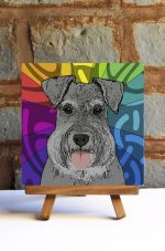 Schnauzer Uncropped Gray Colorful Portrait Original Artwork on Ceramic Tile 4x4 Inches
