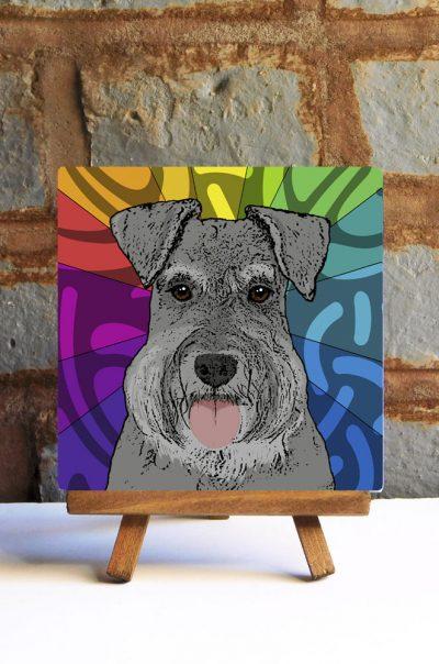 Schnauzer Uncropped Gray Colorful Portrait Original Artwork on Ceramic Tile 4x4 Inches