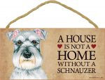 Schnauzer Wood Dog Sign Wall Plaque Photo Display 5 x 10 - House Is Not A Home + Bonus Coaster