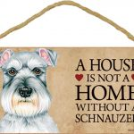 Schnauzer Wood Dog Sign Wall Plaque Photo Display 5 x 10 – House Is Not A Home + Bonus Coaster 1