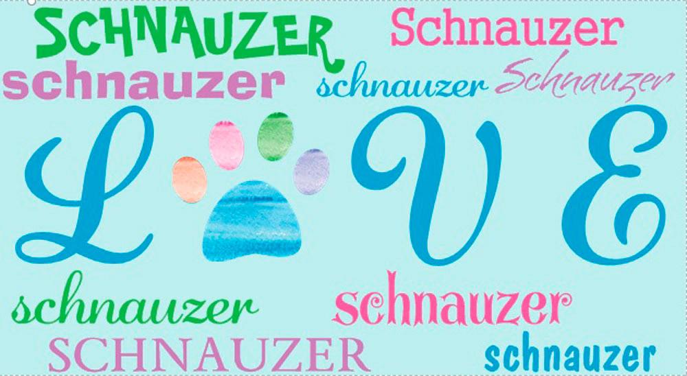 Schnauzer Rectangular Magnet That Says Love & Schnauzer in a Pattern