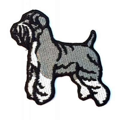 Schnauzer Iron on Embroidered Patch Gray