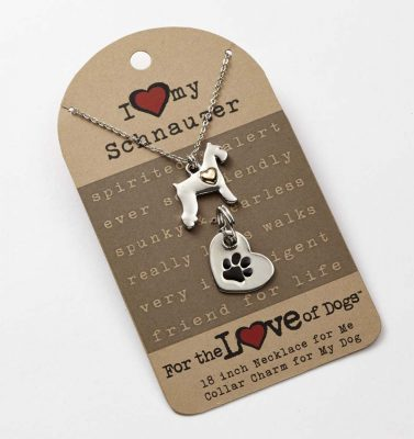 Schnauzer Necklace & Collar Charm Set 16 Inches 1