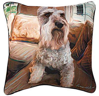 Schnauzer Artistic Throw Pillow 18X18″ 1