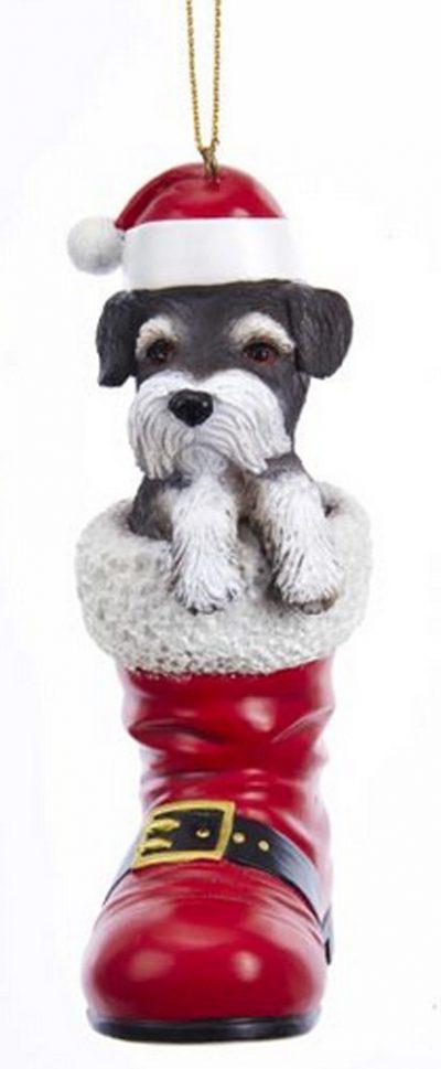 Schnauzer Santa Boot Ornament