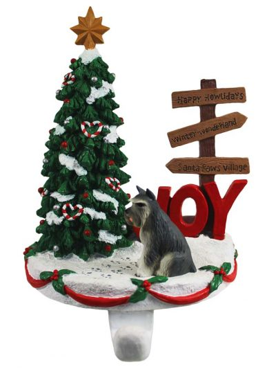 Schnauzer Stocking Holder Hanger Gray