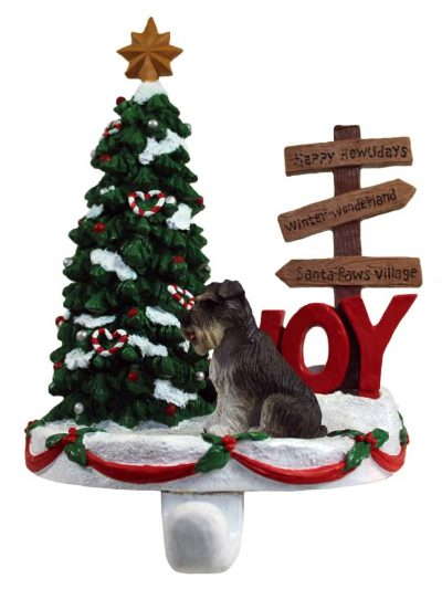 Schnauzer Stocking Holder Hanger Gray Uncropped