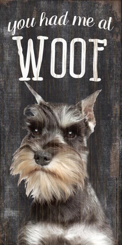 Schnauzer Sign – You Had me at WOOF 5×10 1