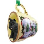 Schnauzer Dog Christmas Holiday Teacup Ornament Figurine Black