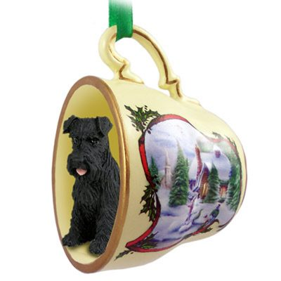 Schnauzer Dog Christmas Holiday Teacup Ornament Figurine Black Uncrop 1